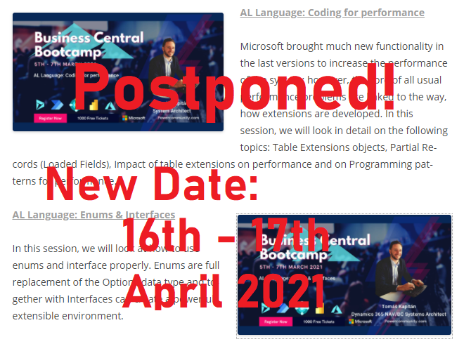 Important update! Business Central Bootcamp postponed to April!