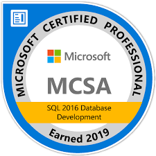 MCSA: SQL 2016 Database Development - Certified 2019 - Credly