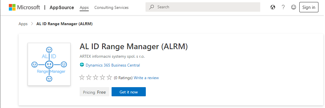 AL ID Range Manager (ALRM) for Business Central is available on Microsoft App Source!
